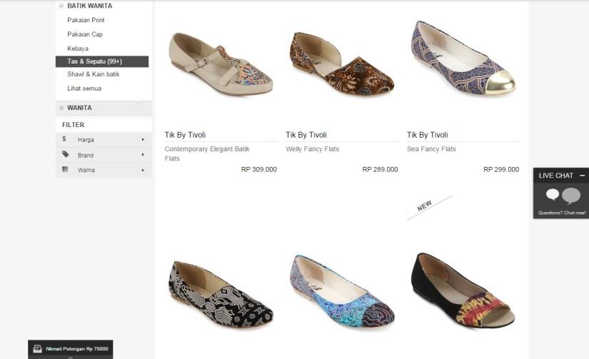 Sepatu Batik yang Cantik