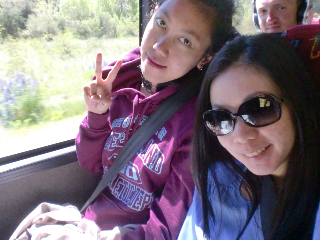 Selfie di bus ke Queenstown