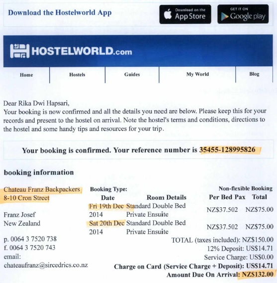 Confirmation email from hostelworld