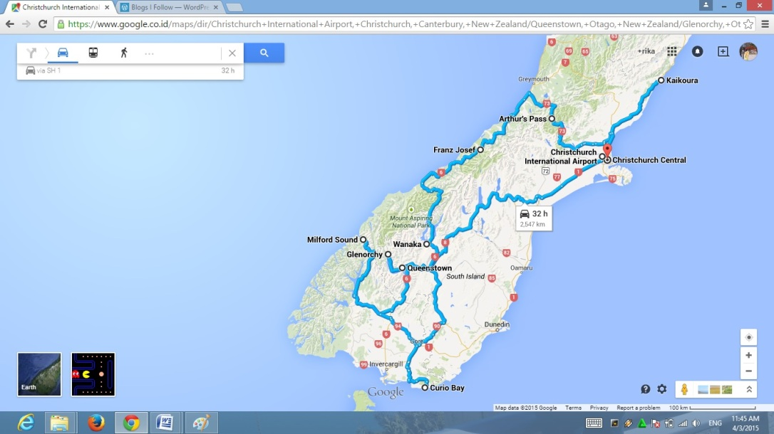 Peta Roadtrip Pulau Selatan