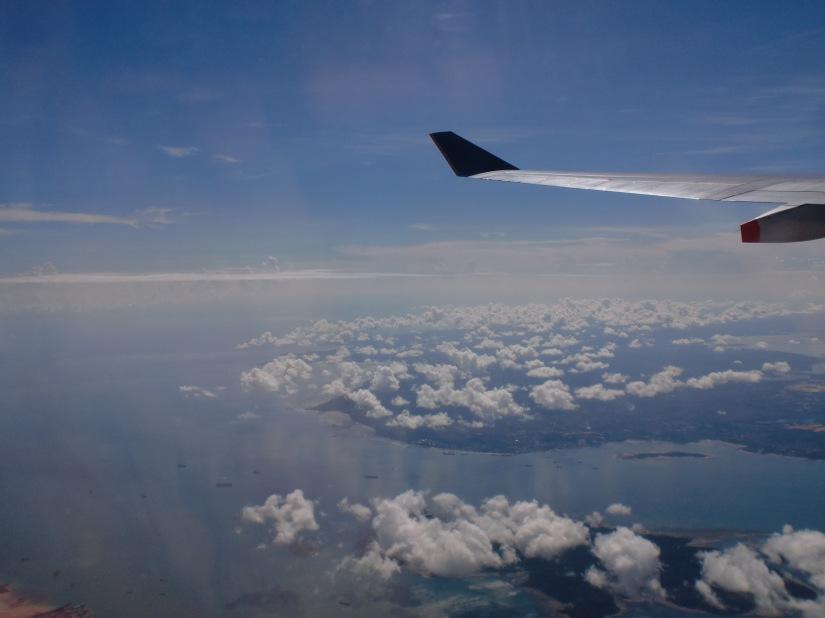 Sayap pesawat Singapore Airlines, bukan dari ketinggian 30.000 kaki